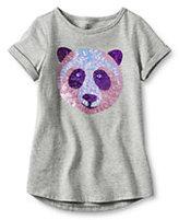 Classic Girls Plus Uneven Hem Embellished Graphic Tee-Gray Heather Panda