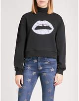 Markus Lupfer Floral-embroidered Lara Lip cotton-jersey sweatshirt