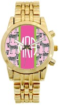The Well Appointed House Personalized Gold Plated Stainless Steel Boyfriend Watch in Pink Zebra Pattern