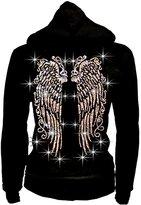 Unknown LADY Plus Size Bling Bling Angel Wings Zip up Hoodie Sweater Rhinestones