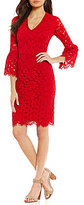 Maggy London V-Neck Bell Sleeve Lace Sheath Dress