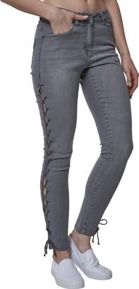Urban Classics Women's Ladies Denim Lace Up Skinny Pants Jeans