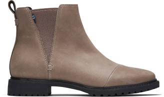Toms Womens Cleo Boot Water Resistant Taupe Grey Nubuck Leather - US 6,5