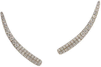 Graziela Gems Curve Silver 0.56 Ct. Tw. Natural White Zircon Ear Climbers