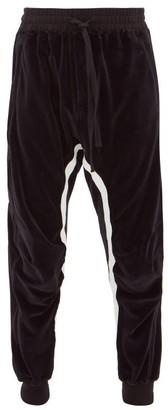 Haider Ackermann Striped Cotton-blend Velour Track Pants - Mens - Black