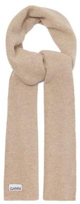 Ganni Ribbed Wool-blend Scarf - Beige