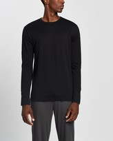 Thumbnail for your product : Sunspel Men's Black Basic T-Shirts - Long Sleeve Crew Neck T-Shirt - Size L at The Iconic