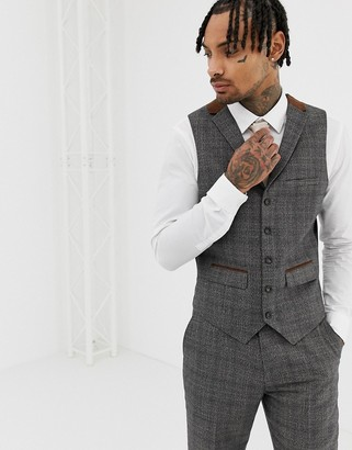 Harry Brown Grey Brown Contrast Tipped Slim Fit Waistcoat