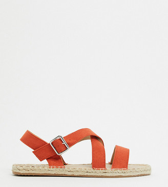 Simply Be extra wide fit strappy sandals in terracotta