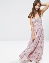 Asos Cami Pleat Maxi Dress in Pink and Blue Floral Print