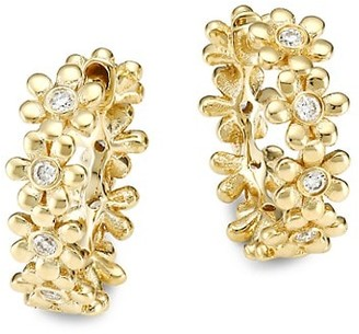 Sydney Evan 14K Yellow Gold & Diamond Daisy Huggie Hoop Earrings