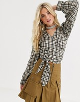 New Girl Order wrap crop top with puff sleeves in heritage check co-ord