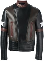 Givenchy star patch biker jacket - men - Lamb Skin/Viscose/Wool - 48