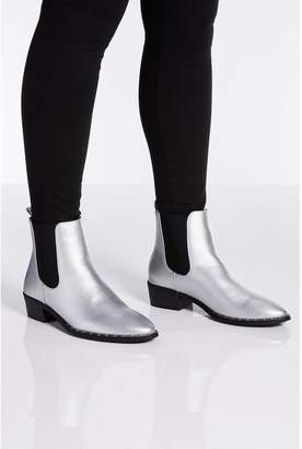 Quiz Silver Chelsea Ankle Boots