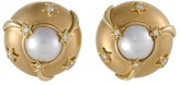 Chanel Comete 18K Yellow Gold Diamond and Pearl Clip-on Earrings