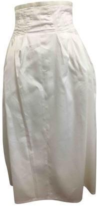 Celine White Cotton Skirt for Women