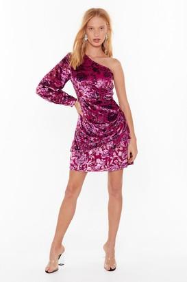 Nasty Gal Womens You're the One Shoulder Velvet Floral Dress - Pink - 4, Pink