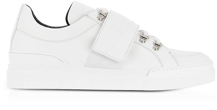 Balmain White Leather Low Top Men's Cobalt Sneakers