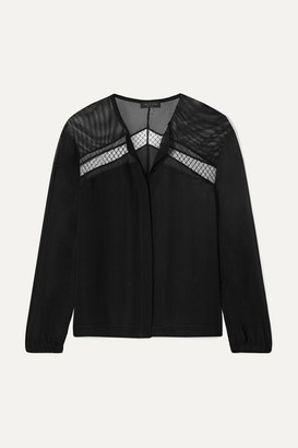 Rag & Bone Tommi Mesh-paneled Silk Crepe De Chine Blouse - Black
