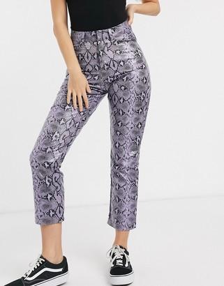 Daisy Street straight leg pants in snake print pu