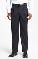 JB Britches Men's Pleated Super 100S Worsted Wool Trousers