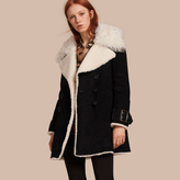 Burberry Double-breasted Suede and Shearling Coat