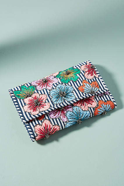 Anthropologie Striped Floral Clutch