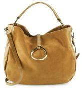 Halston Top Handle Leather Hobo Bag