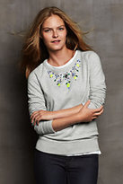 Classic Women's Long Sleeve Terry Embellished Crew-Umber Stripe