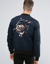 Religion Souvenir Bomber Jacket With Tiger Back Embroidery