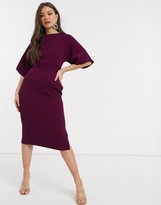 Closet London ribbed pencil dress with tie belt in plum
