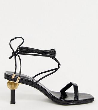 Z Code Z Z_Code_Z Exclusive Hila vegan ankle tie sandals with statement heel in black