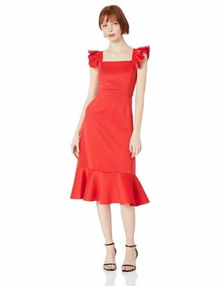 Betsey Johnson Women's Scuba Dress with Ruffled Shoulders