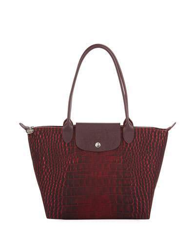 Longchamp Le Pliage Medium Croco Shoulder Tote Bag
