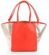 Melie Bianco Jolene contrast shopper tote with additional animal-pattern