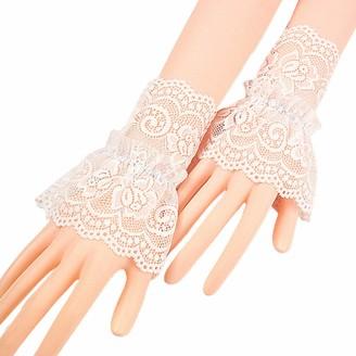 Catyrre Hollow Crochet Floral Lace Wrist Cuffs Ruffles Detachable Fake Sleeves Bracelet