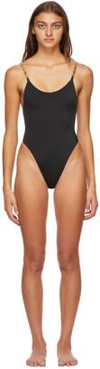 Versace Underwear Black Greek Key One-Piece Swimsuit