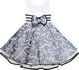 Sunny Fashion JA41 Girls Dress Sleeveless Tulle Paisley Pattern Pearl Bow Tie Stripe