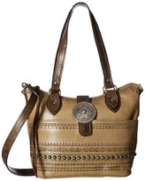 American West Trading Post Convertible Zip Top Bucket Tote Tote Handbags