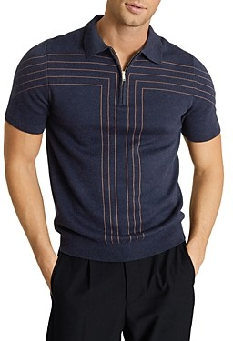 Reiss Kade Stripe Half Zip Polo