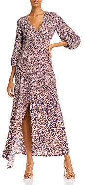 Yigal Azrouel Asymmetric Leaf Print Twill Dress