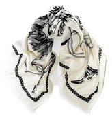 Black Masami Heraldic Wool and Silk Square Scarf