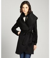 black wool blend 'Marla' wide shawl belted coat