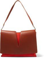 Jil Sander Cutout leather and suede shoulder bag