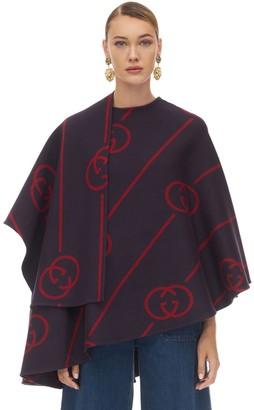 Gucci Gg Asymmetric Printed Wool Blend Cape