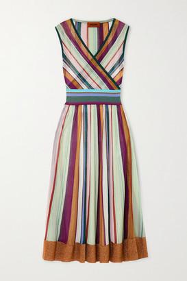 Missoni Wrap-effect Striped Metallic Crochet-knit Midi Dress - Purple