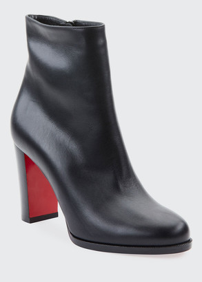 Christian Louboutin Adox Leather Block-Heel Red Sole Boots