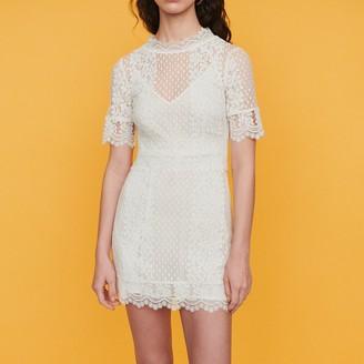 Maje Short Swiss dot dress with daisy lace