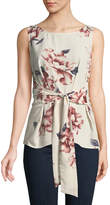 West Kei Floral Woven Tie-Front Tank, Pink Floral