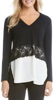 Karen Kane Lace Trim Mixed Media Top